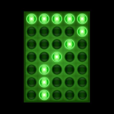 Number seven 7 on green LED display.