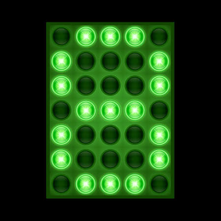 Number eight 8 on green LED display.
