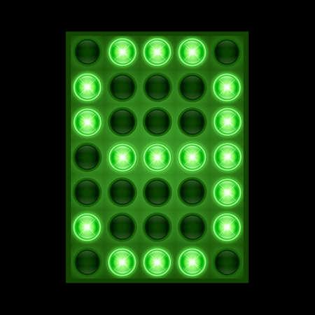 Number nine 9 on green LED display. vector eps 10