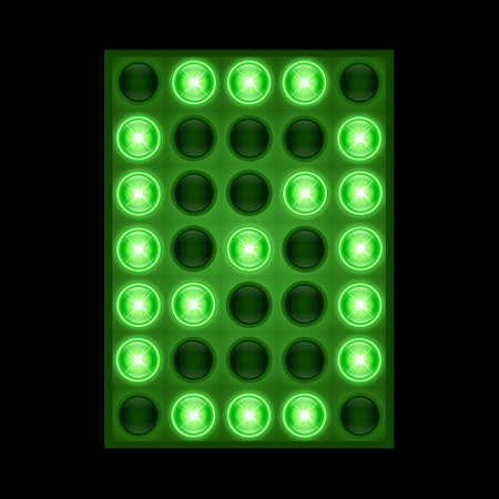 Number zero 0 on green LED display.