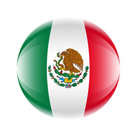 Mexico flag icon in the form of a ball. Vector eps 10 Stock Illustratie
