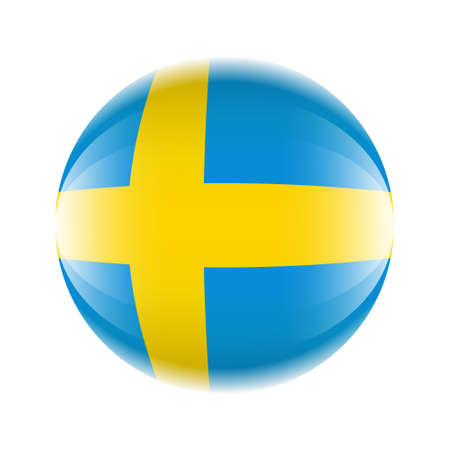 Sweden flag icon in the form of a ball. Vector eps 10 Ilustrace
