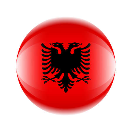 Albania flag icon in the form of a ball.