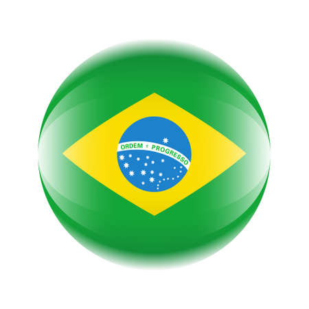 Brazil flag icon in the form of a ball. Vector eps 10 Ilustrace