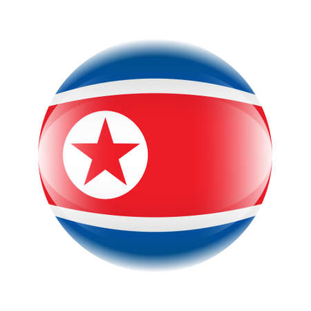 Northern Korea flag icon in the form of a ball. Vector eps 10 Ilustrace