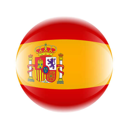 Spain flag icon in the form of a ball. Vector eps 10