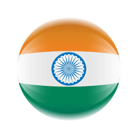 India flag icon in the form of a ball. Vector eps 10