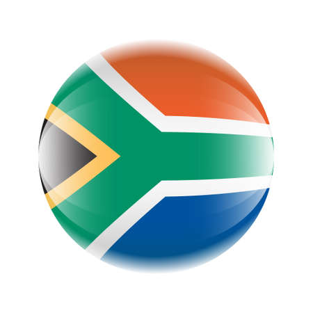 South Africa flag icon in the form of a ball. Vector eps 10