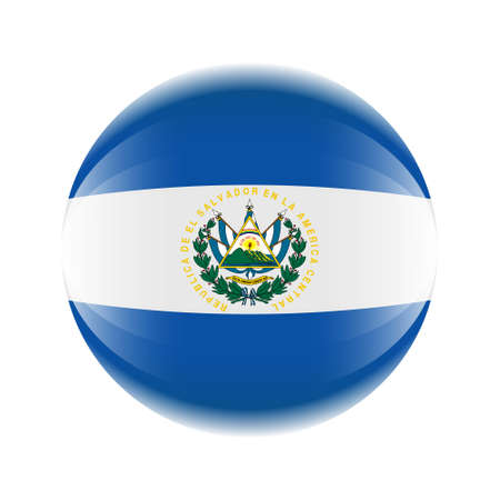 El Salvador flag icon in the form of a ball. Banque d'images - 120942829