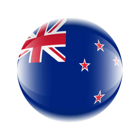 New Zealand flag icon in the form of a ball. Vector eps 10