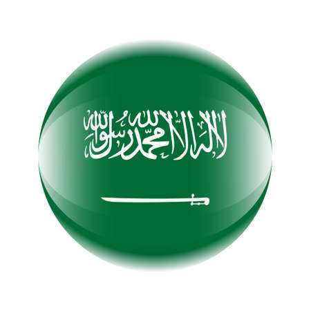 Saudi Arabia flag icon in the form of a ball. Vector eps 10