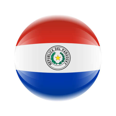 Paraguay flag icon in the form of a ball. Ilustrace