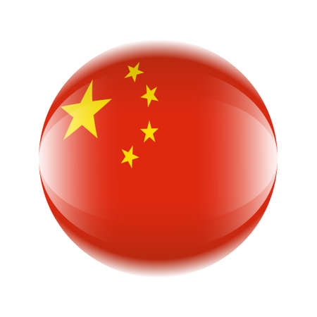 China flag icon in the form of a ball. Vector eps 10