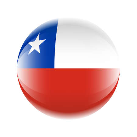 Chile flag icon in the form of a ball. Vector eps 10