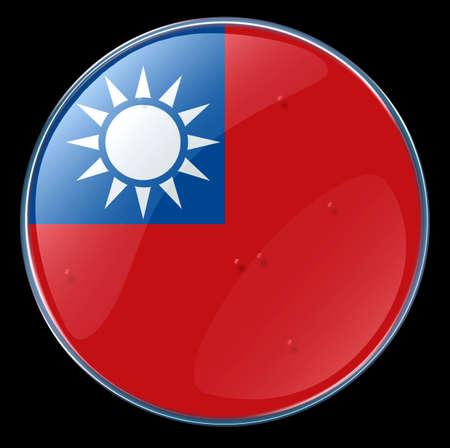 Taiwan Flag Button. (With Clipping Path) Redakční