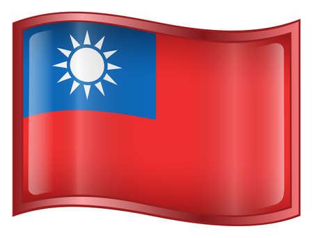 Taiwan Flag icon. (With Clipping Path)