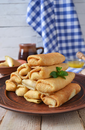 vibrant cottage: Pancakes with curd on a large plate