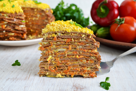 collation: Liver cake, cake of liver pancakes stuffed with carrots