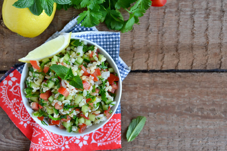 tabbouleh: Eastern salad tabbouleh with bulgur, mint and parsley