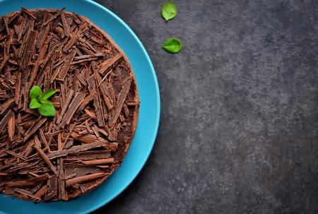 ganache: Chocolate cheesecake with mascarpone, chocolate biscuit and ganache Stock Photo