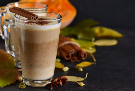 Warm, spicy drink - latte with cinnamon and pumpkin on a black background