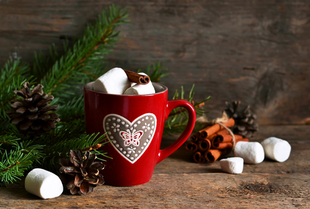 Winter hot drink-hot chocolate with marshmallows in a red bowl on a wooden background