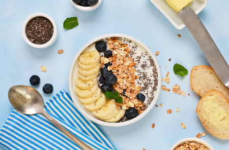 Good morning! A light breakfast of yogurt and granola with chia seeds, bananas, blueberries and bread toast.