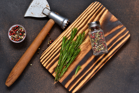 Photo background with a cutting board. Kitchen tools.