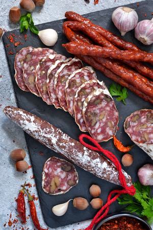 Plate with delicacies. Hamon, salami, meat with nuts and spices on a concrete background.