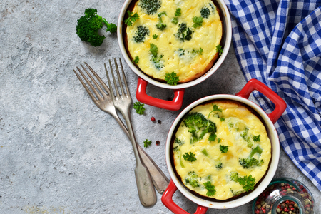 Homemade casserole with broccoli and cheese.