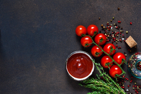 Tomato sauce with thyme, chili pepper and paprika on a dark background. Imagens