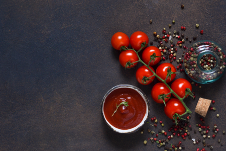 Tomato sauce with thyme, chili pepper and paprika on a dark background. 写真素材