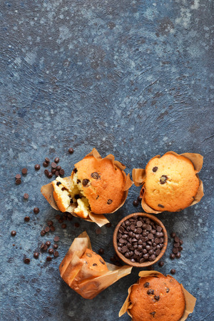 Vanilla muffins in paper form with chocolate drops on a concrete background. View from above.