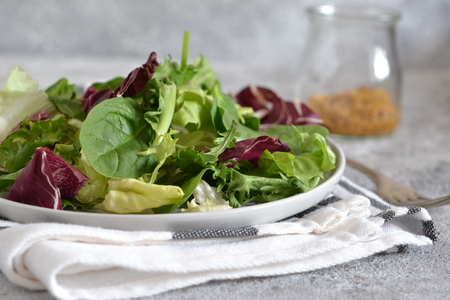 Fresh mix of salads: lettuce, arugula, spinach, mesclun, mache on a dark background.