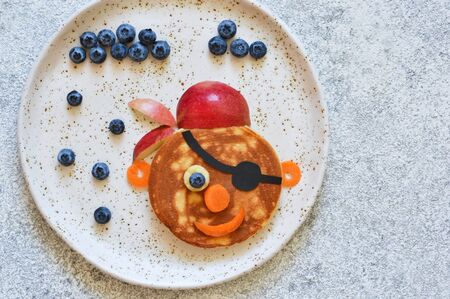 Funny pancakes for kids - pirate, sailor, captain, ship. Breakfast for the kids.