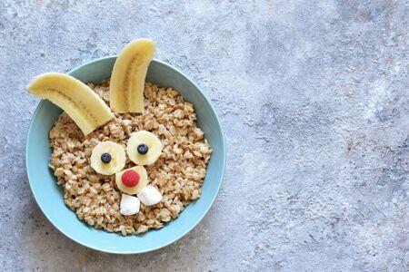 Happy hare - funny porridge for children. Breakfast for children.