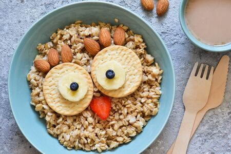 Owl bird - funny porridge for children. Breakfast for children.