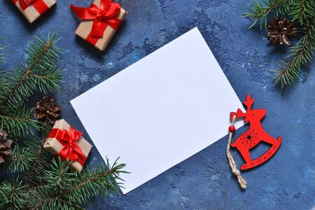 Letter to Santa. Christmas card with decorations with space for text. Stock Photo