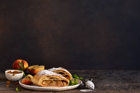 Apple strudel with cinnamon, nuts and and raisins on a dark concrete background.