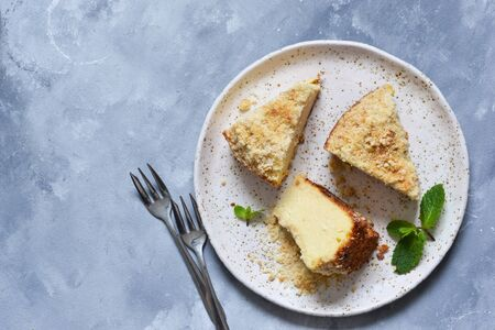 Classic cheesecake is a traditional American dessert. View from above.