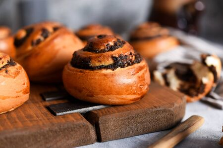 Bun with poppy seeds and milk on a concrete background