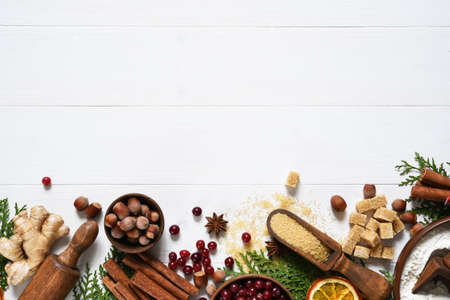 Ingredients for Christmas baking. Decoration in New Year's style. Layout. Recipe.