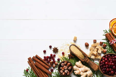 Ingredients for a Christmas drink. Grog, mulled wine is a traditional winter drink. Layout. Stock Photo