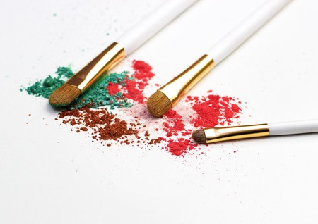 Makeup highlighter, shadow and brushes for make-up, make-up artist for the tools. Stock Photo