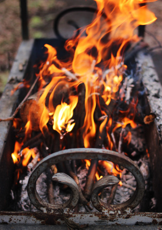 Beautifully burning dry firewood in wrought grill. Stock Photo