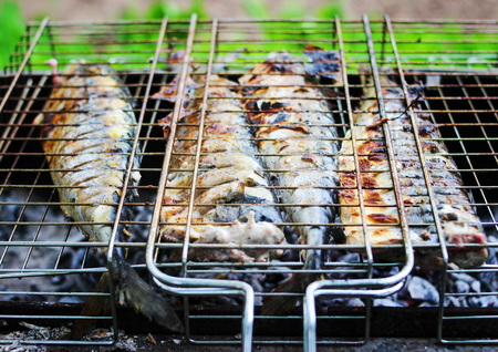 Fried fish on grill and coals, golden color with crust.