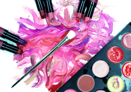 Smears of lipstick, lipstick for make-up, professional make-up