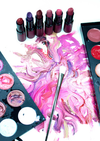 dabs: Smears of lipstick, lipstick for make-up, professional make-up