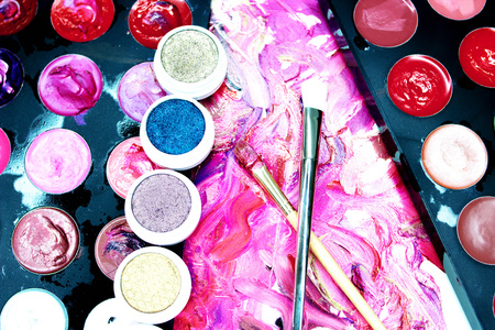 smudged: Smears of lipstick, lipstick for make-up, professional make-up