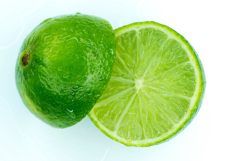 Pieces of ripe juicy lime in a section